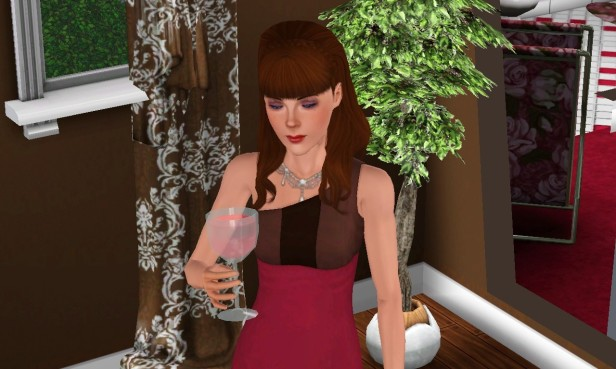 Valerie Drinking Wine 1 (Medium)